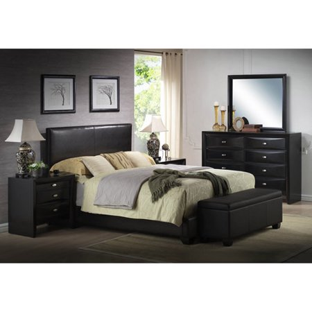ireland king faux leather bed black - Leather Bed