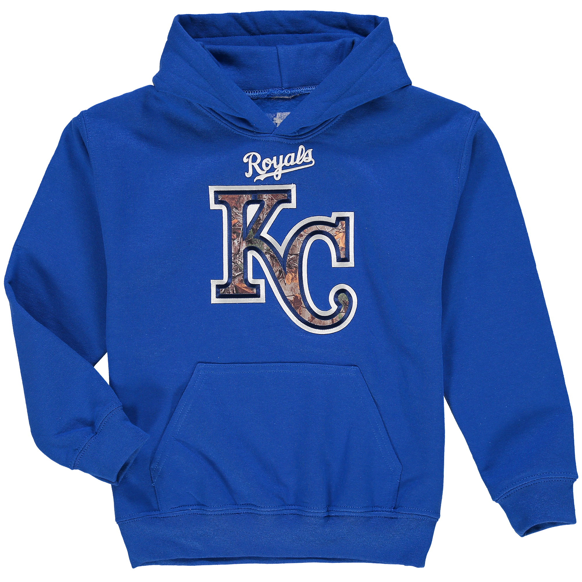 Youth Stitches Royal Kansas City Royals Realtree Camo Pullover Hoodie