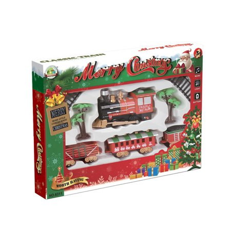 Electric Track Train Light Music Function Rail Car Compartment Christmas Toys Classic Track Train Set ()