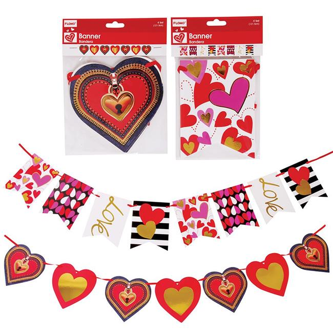 DDI 2323268 Die-Cut Paper Valentine Hanging Banners with Hot Stamping Embellishments - Case of 48