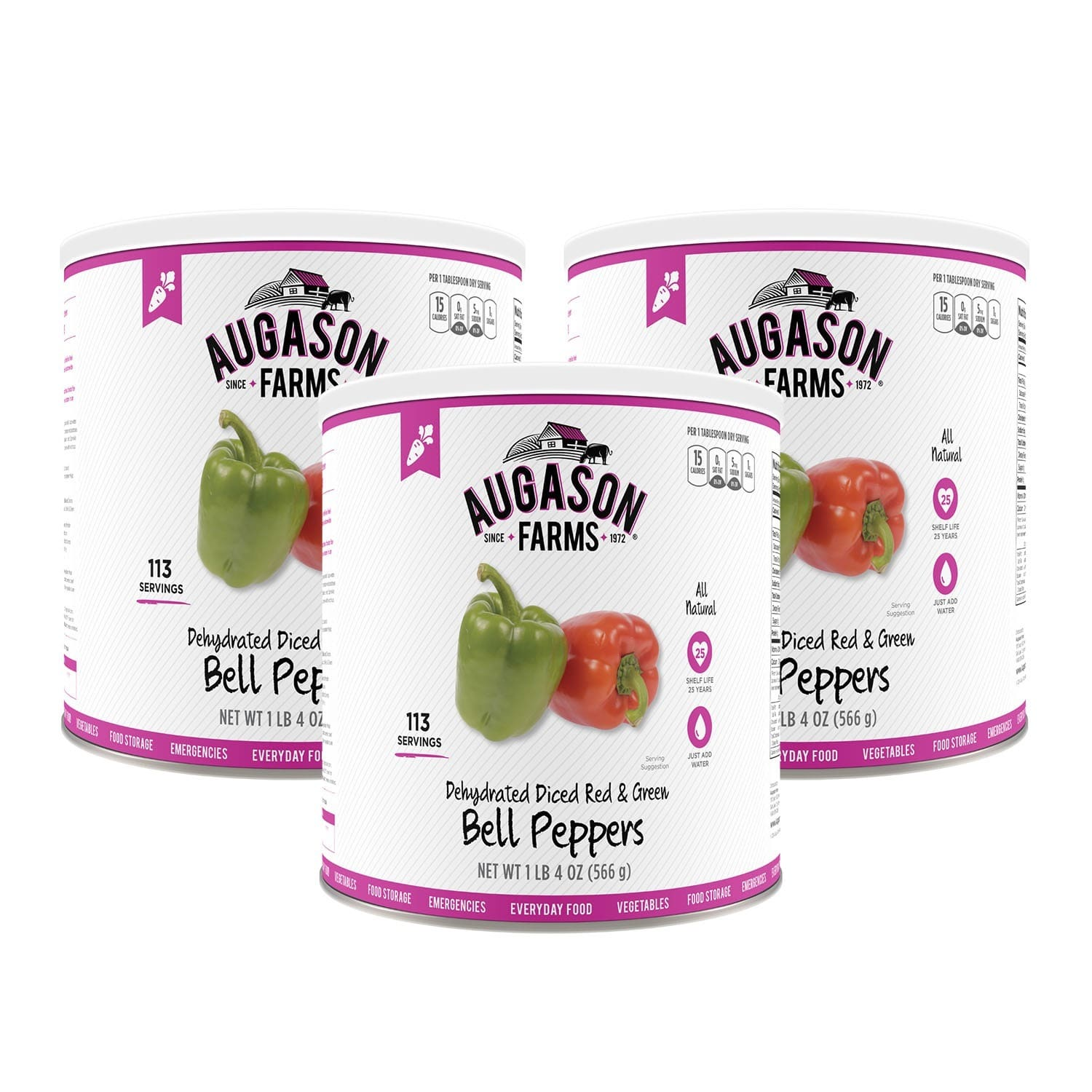 Augason Farms Dehydrated Diced Red & Green Bell Peppers 20 oz #10 Can by Overstock
