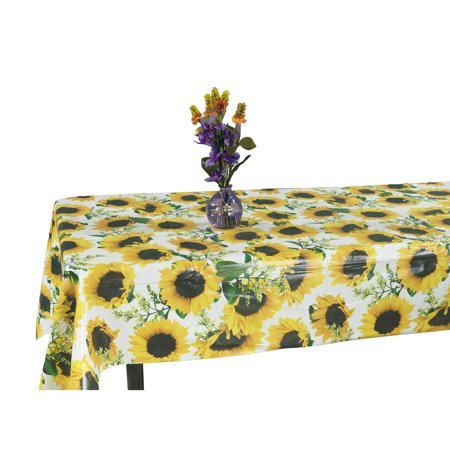 Ottomanson Vinyl Tablecloth Sunflower Design Indoor & Outdoor Non-Woven Backing Tablecloth, 55