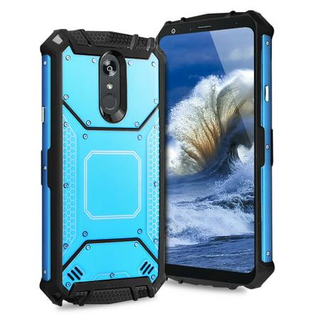 TJS LG Stylo 4 2018/ LG Stylo 4 Plus/LG Q Stylus Case, Aluminum Magnetic  Support Rugged Armor Hybrid Shockproof cover - Blue