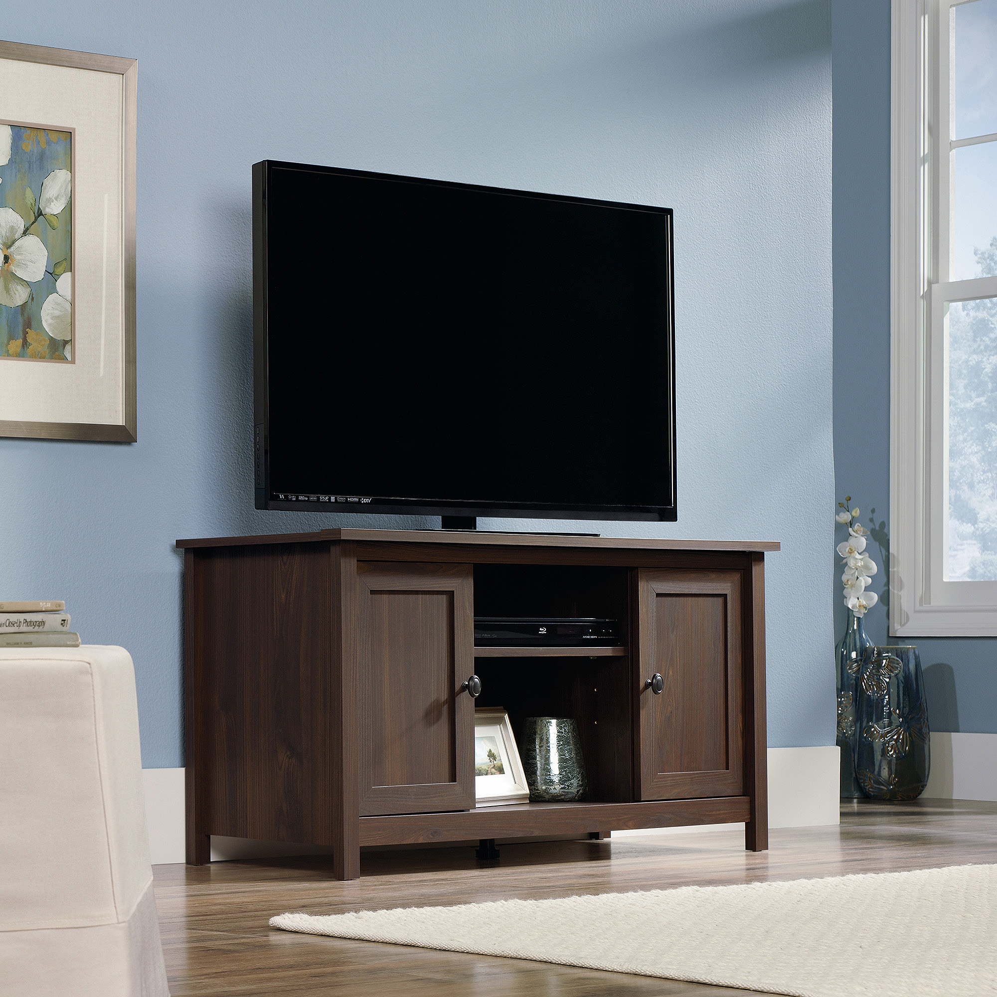 """Sauder County Line TV Stand for TVs up to 47"""", Rum Walnut"""