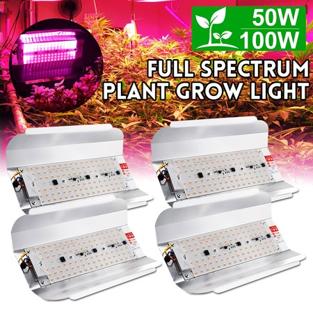 4pcs 100w Full Spectrum Cob Led Hydroponic Grow Light Plant Flower Flood Light Outdoor Indoor