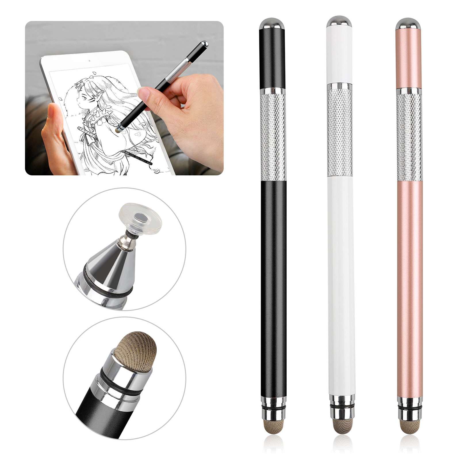 Stylus Pen for Touch Screen, EEEKit Replacement Fine Point Smart Pencil Disc Fiber Stylus Pen Compatible with IOS, Kindle, Tablet, Galaxy & More