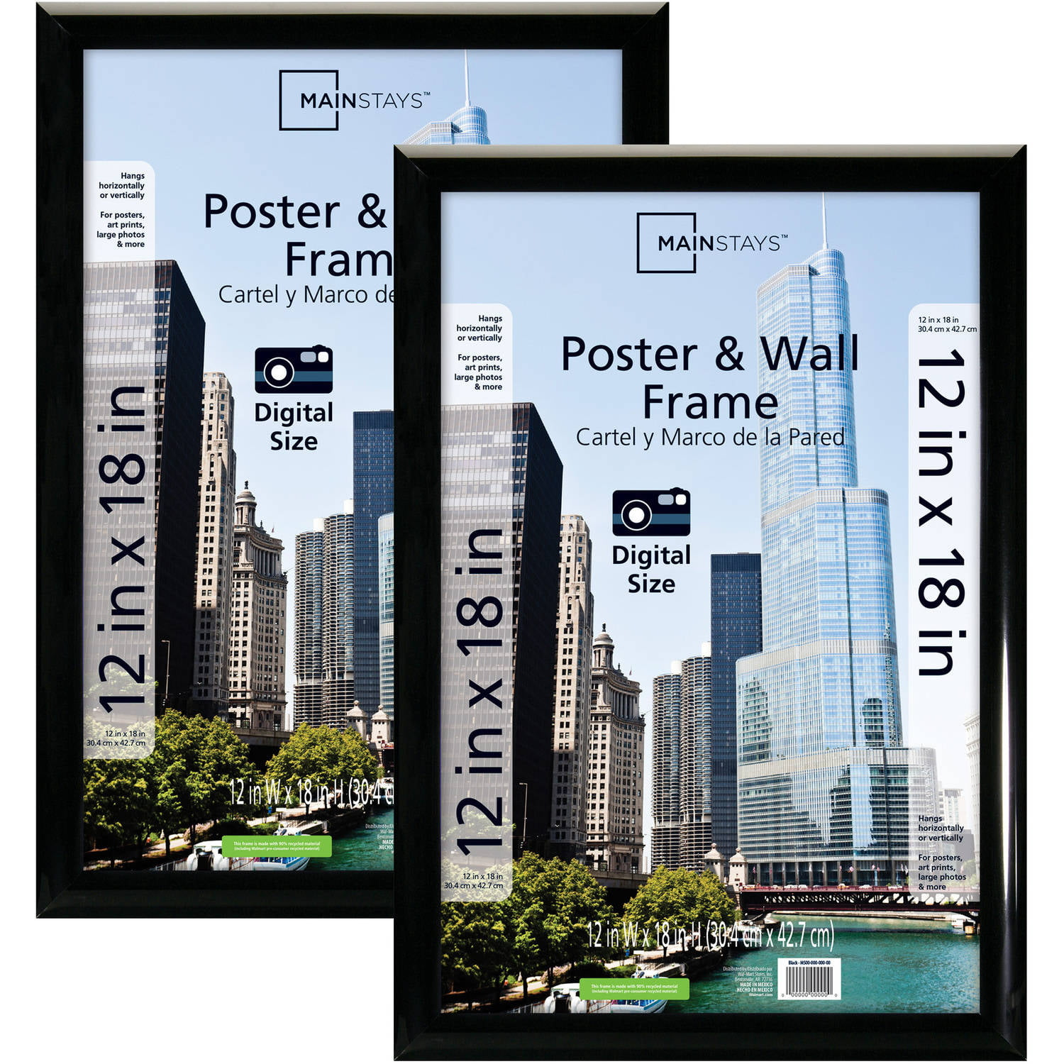 Mainstays 12x18 Trendsetter Poster and Picture Frame, Black, Set of ...
