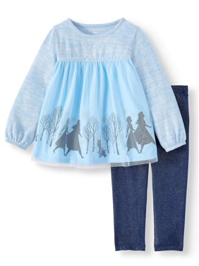 Disney Frozen 2 Exclusive Anna, Elsa and Olaf Tulle Top and Sparkle Leggings, 2-Piece Set (Little Girl & Big Girl)
