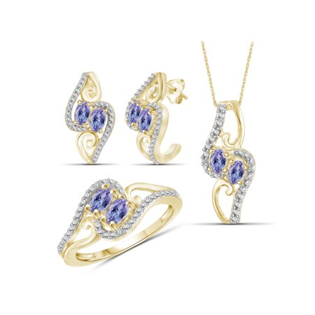 2.00 Carat T.G.W. Tanzanite And White Diamond Accent 14k Gold Over Silver 3-Piece Jewelry set