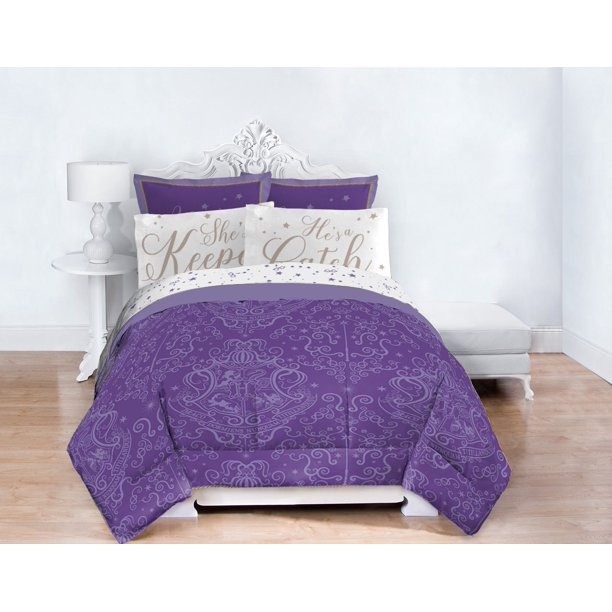 Harry Potter Purple & White Hogwarts Crest Bed in a Bag Bedding Set