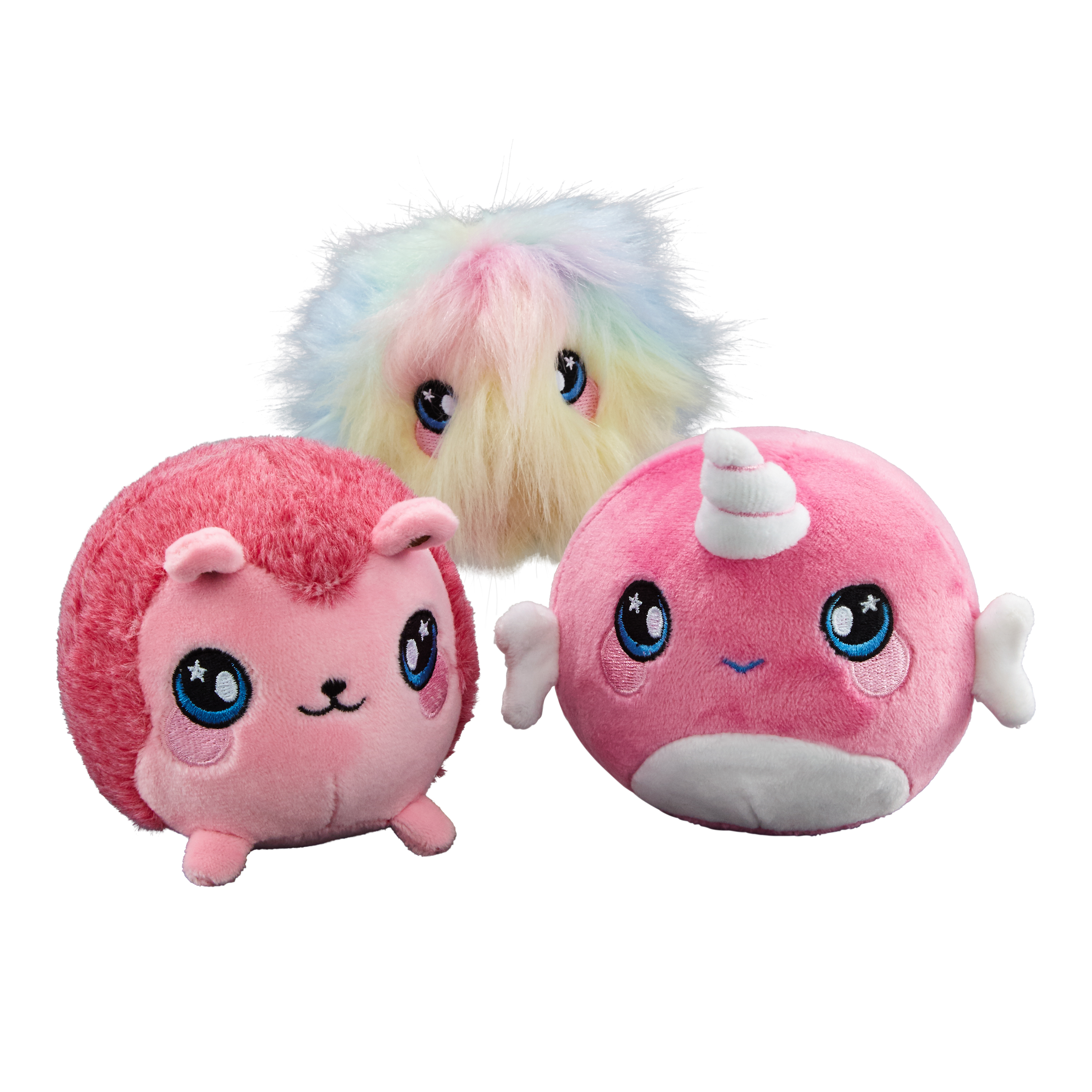 Squeezamals 3 Pack Bundle Narcissa Narwhal Fifi Furball Hopey
