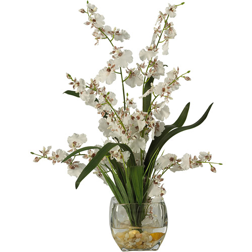 Dancing Lady Orchid Liquid Illusion Silk Flower Arrangement, White