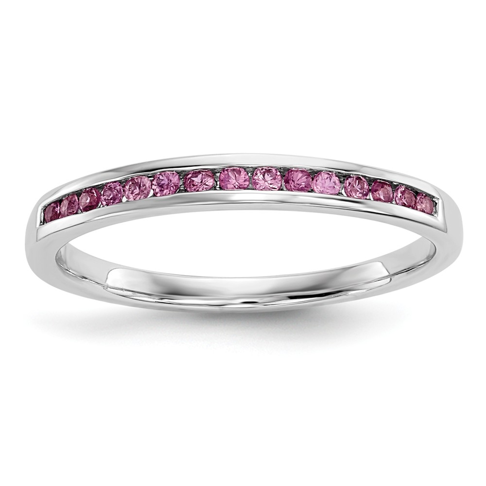 14k White Gold Pink Sapphire Ring by Diamond2Deal