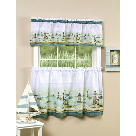 Lighthouses & Sailboats 3 Piece Kitchen Curtain Tier & Valance Set - 24 in. Long