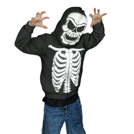 Costume For Boy (Glow in The Dark Skeleton Mask Full Zip Up Hoodie Halloween Costume for)