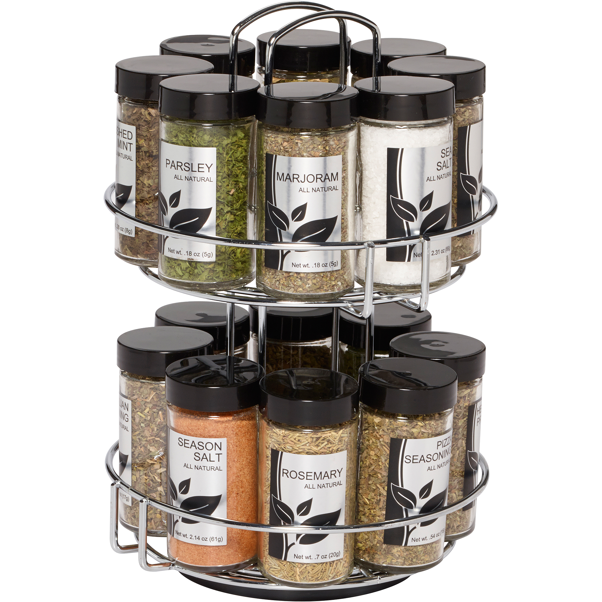 Spice Rack Jar 16 Revolving Metal Kitchen Storage With