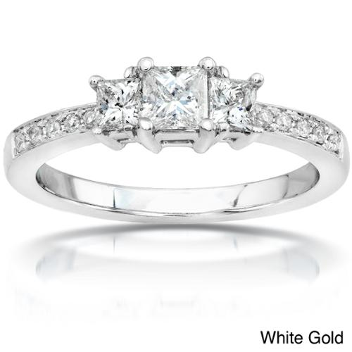 Annello  by Kobelli 14k Gold 1/2ct TDW Princess Diamond Engagement Ring