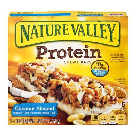 Nature Valley Chewy Granola Bar  Protein  Coconut Almond  Gluten Free  5 Bars   1 4 Oz  1 42 Oz