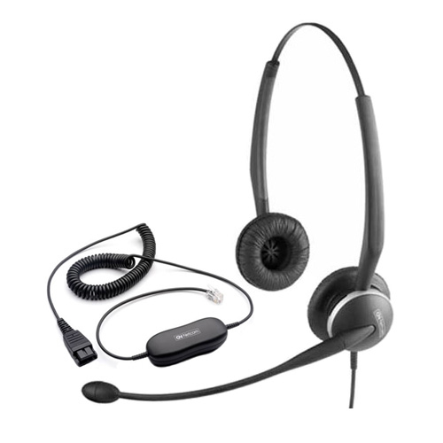 Jabra GN2125 Duo NC Headset & GN1200 Cable w/ Acoustic Transmission Line Technology
