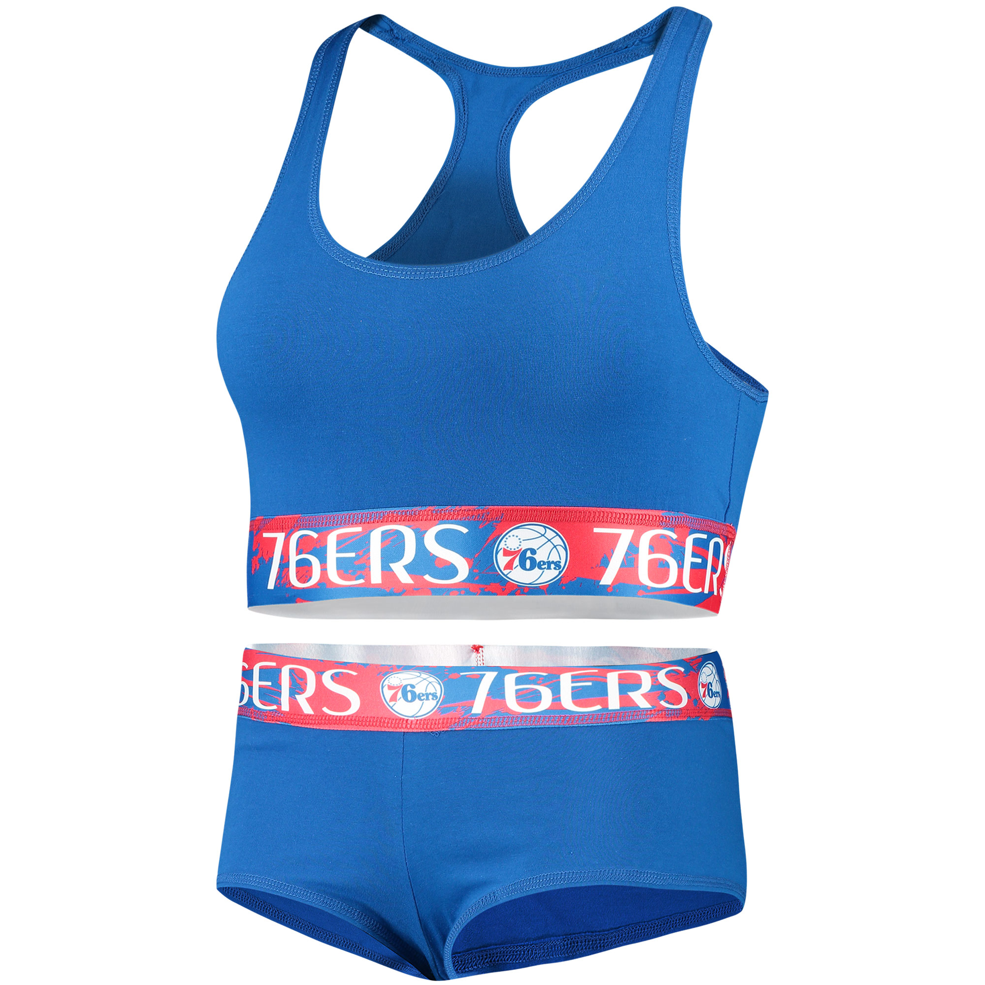 Philadelphia 76ers Concepts Sport Women's Bralette & Boyshorts Set - Royal/Red