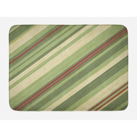 Vintage Bath Light - Vintage Bath Mat, Red Green Diagonal Stripes on Old Aged Design Grungy Background Abstract Print, Non-Slip Plush Mat Bathroom Kitchen Laundry Room Decor, 29.5 X 17.5 Inches, Green Red Cream, Ambesonne