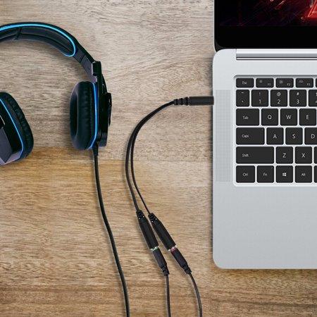 2PCS 3 5mm Audio Y Splitter Cable Headset Audio Microphone