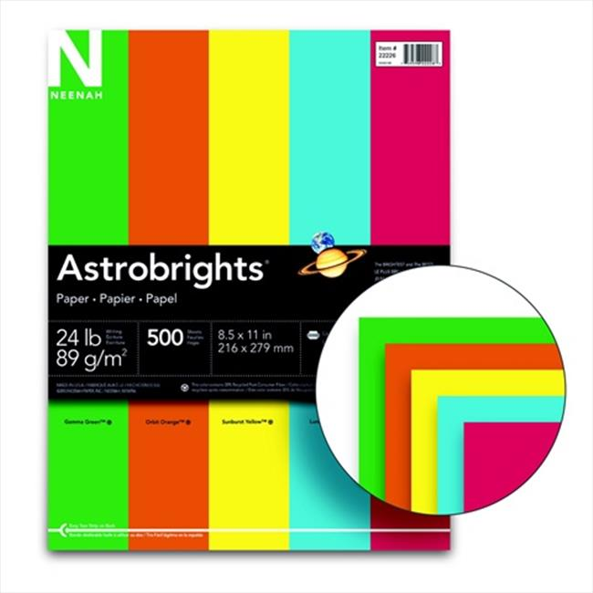 Astrobrights 8. 5 x 11 inch Acid-Free Premium Colored Paper - Eco Assortment, Pack 500