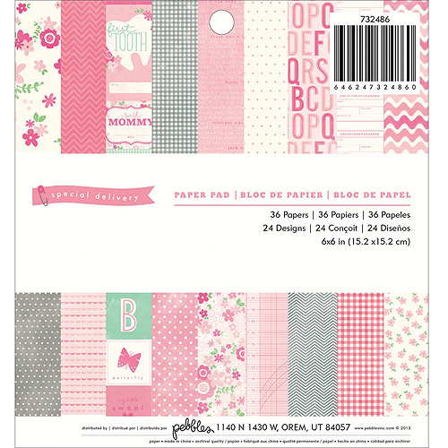 """Special Delivery Girl Paper Pad, 6"""" x 6"""", 36 Sheets, 24 Designs"""