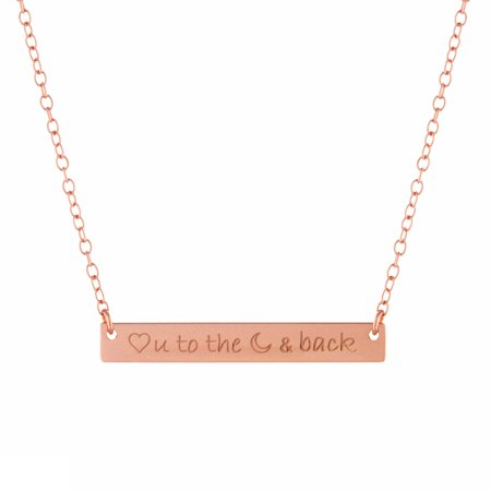 Fine Rose Gold Over Sterling Silver Love You to the Moon and Back Engraved Bar