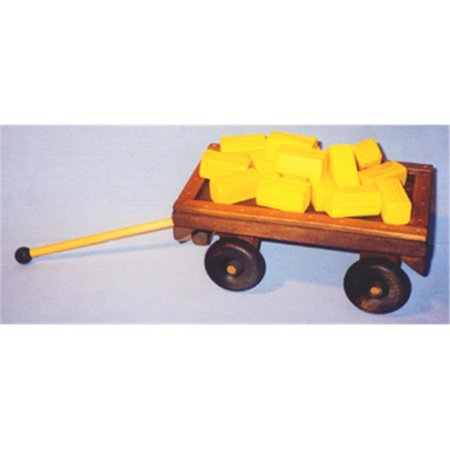 The Puzzle Man Toys W 2080 Wooden Play Farm Series   Accessories Special   Wagon    16  Bales Of Straw