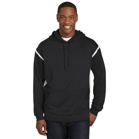 Sport-Tek® Tech Fleece Colorblock Hooded Sweatshirt. F246 Black/White S - image 1 de 1