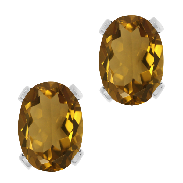 1.40 Ct Oval Shape Whiskey Quartz Sterling Silver Stud Earrings
