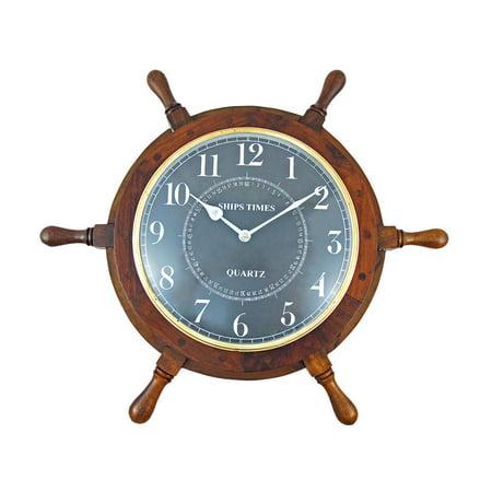 19 Inch Diameter Nautical Wooden Ships Wheel Clock ()