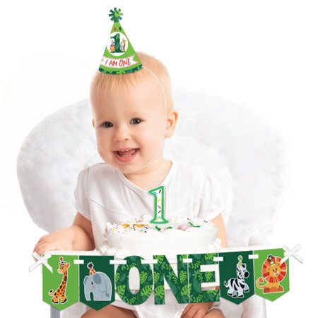 Jungle Party Animals 1st Birthday - First Girl or Boy Smash Cake Decorating Kit - Safari Zoo Animal High Chair Decor