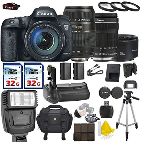 Canon EOS 7D Mark II 20.2MP Digital SLR with Canon EF-S 18-135mm f 3.5-5.6 IS STM + Tamron AF 70-300mm F 4-5.6... by