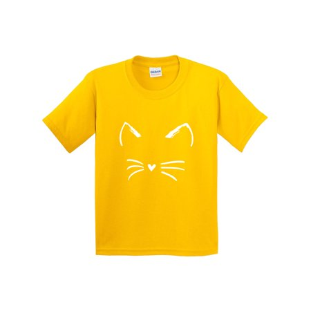 Trendy USA 1127 - Youth T-Shirt Cat Whiskers Silhouette Heart Nose Large Daisy Yellow](Cat Nose And Whiskers For Halloween)