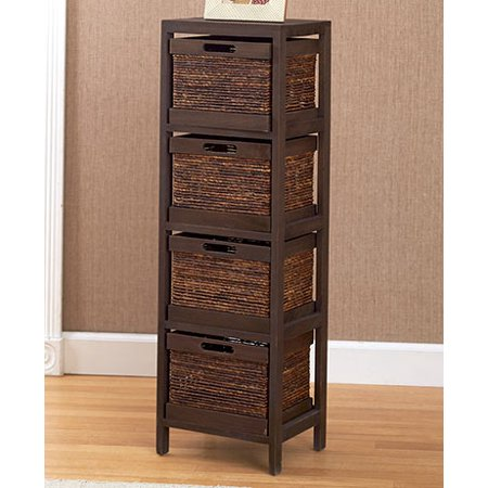 The Lakeside Collection Rope Accent Storage Tower- Walnut ()