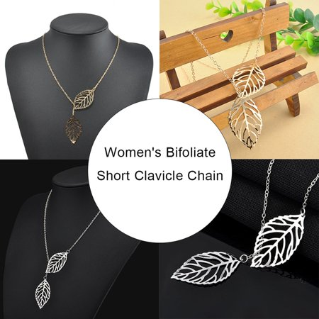 Simple Mori Metal Hollow Leaf Necklace Female Double Leaf Short Clavicle Chain - image 5 of 6