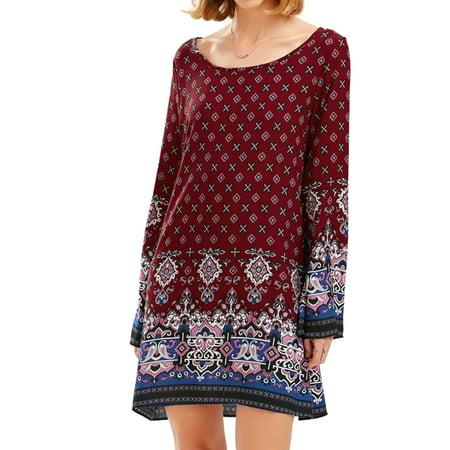 9ba85fb4ffc HIMONE - Womens Summer Beach Mini Dress Sundress Boho Floral Print Long  Sleeve Crew Neck Long Tops Loose Casual Party Shirt Dress - Walmart.com