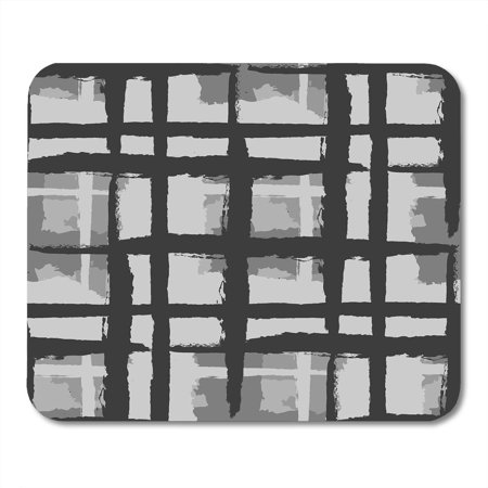 LADDKE Black Kilt Grunge Pattern with Hand Crossing Lines for Linen Sportswear Rustic Check Tartan Scottish Mousepad Mouse Pad Mouse Mat 9x10 inch