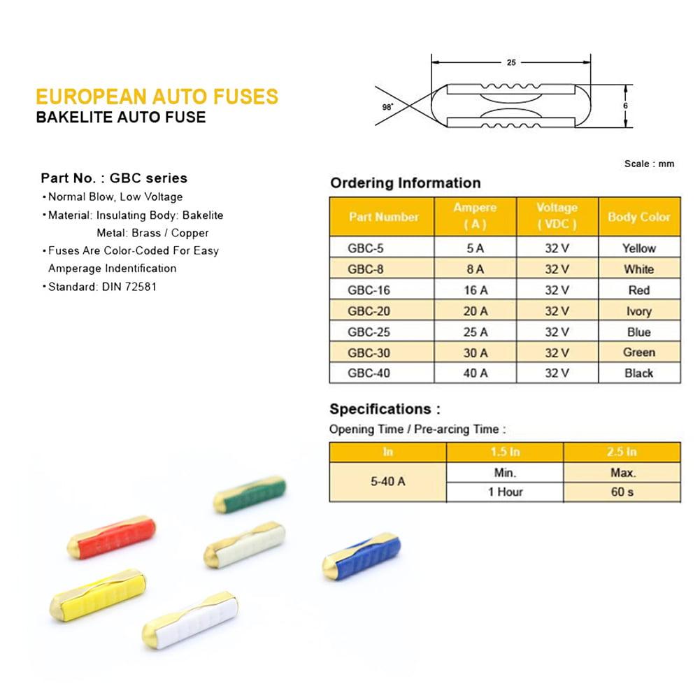30//50Pcs GBC European Car Blade Fuse Box Assortment Bakelite Auto Fuses 5-30Amp