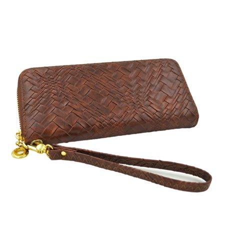 Face Brown Leather Band - Premium Interlace Pleated PU Leather Zip Around Wallet Wristlet