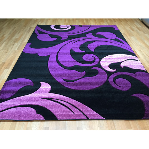 Rug Tycoon Hand-Carved Purple Area Rug