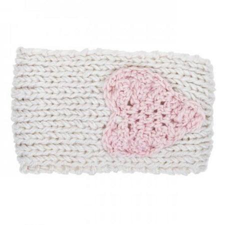Icon Bijoux CO-CMH1115-WHITE Bernadette Heart Design Knit Headband, Off White - 8 x 4 in.