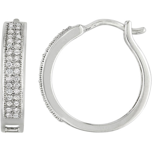 1/5 Carat T.W. Diamond Sterling Silver Hoop Earrings