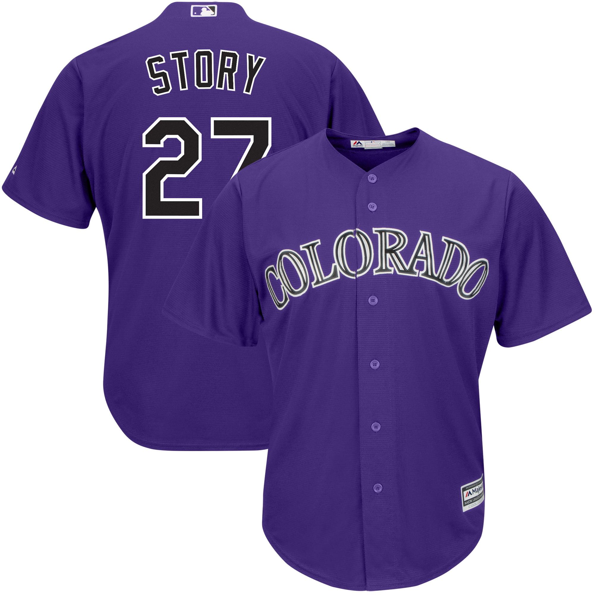 Trevor Story Colorado Rockies Majestic Alternate Official Cool Base Player Jersey - Purple