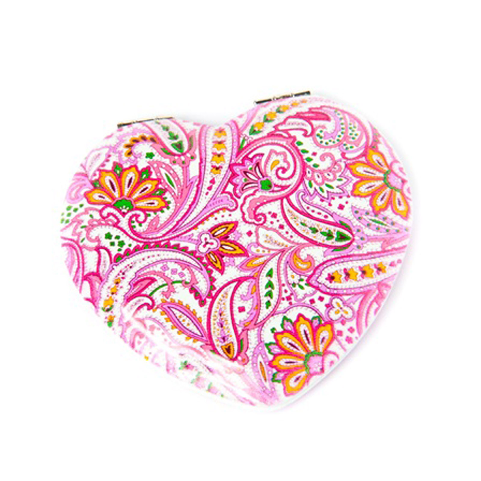 Heart Shaped Snap Cosmetic Makeup Travel Mirror