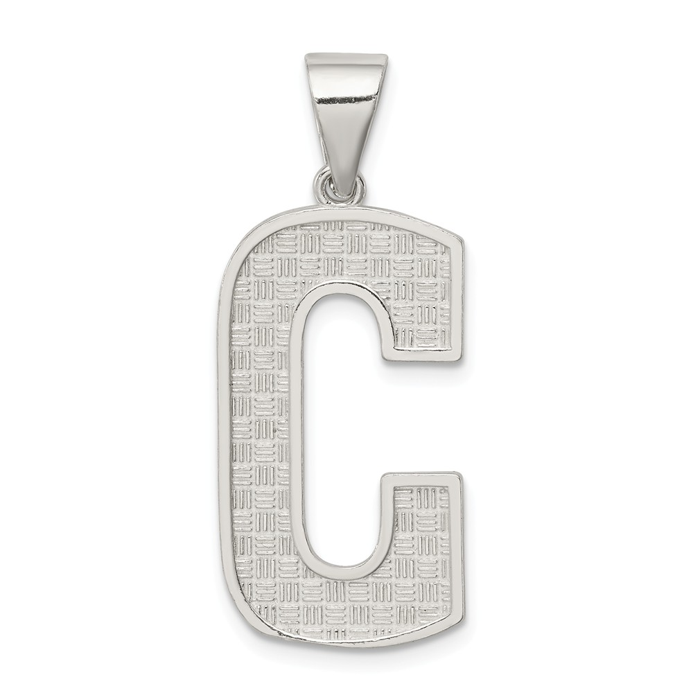 Sterling Silver Polished Initial C Charm (1.4in long x 0.6in wide)