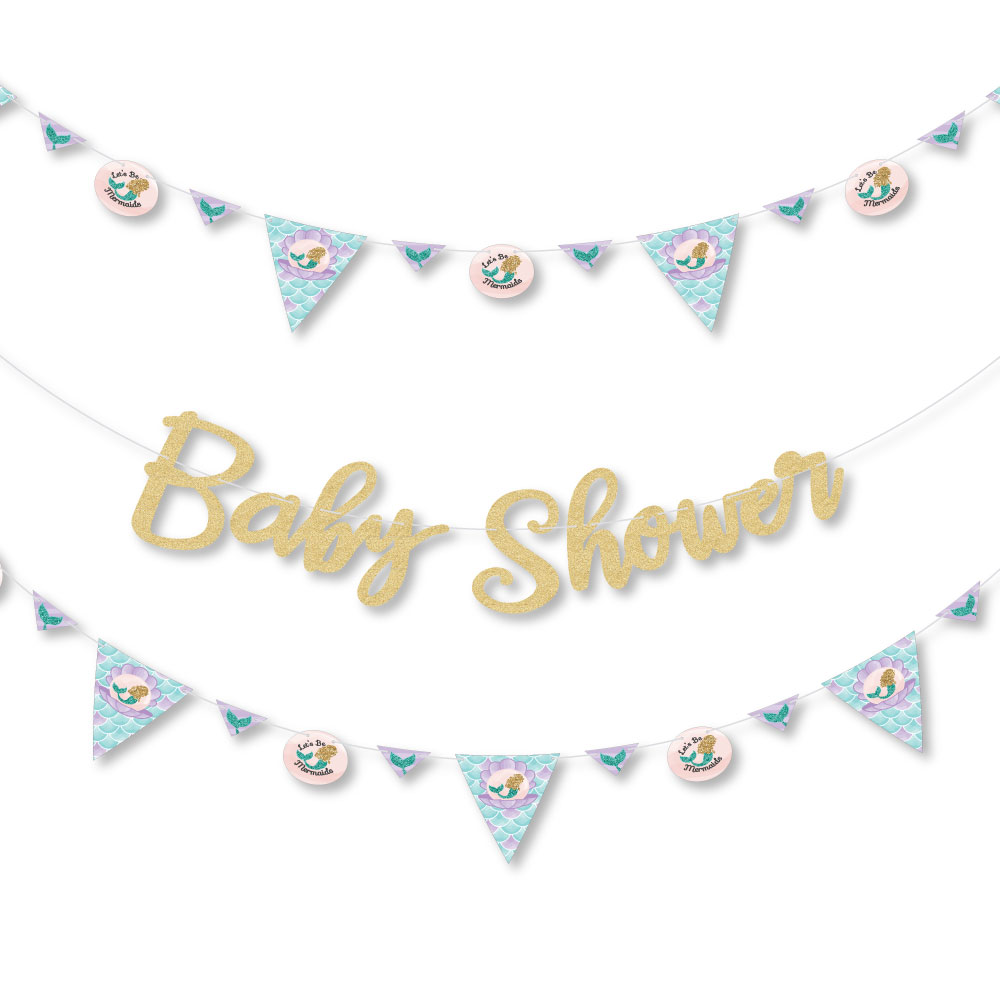 Let's Be Mermaids - Baby Shower Letter Banner Decoration - 36 Banner Cutouts and No-Mess Real Gold Glitter Baby Shower B