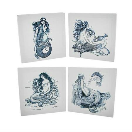 4 piece blue and white mermaid canvas prints set - walmart.com